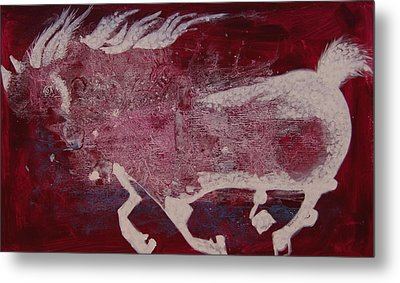 Metal Print featuring the painting White Horse by Sima Amid Wewetzer