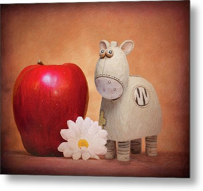 Metal Print featuring the photograph White Horse With Apple by Tom Mc Nemar