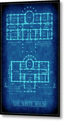White House Blueprint Metal Print by Daniel Hagerman