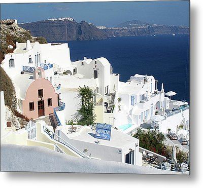 White Houses Of Oia Metal Print