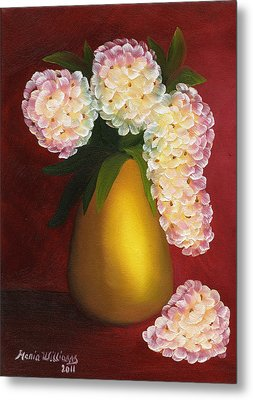 White Hydrangeas In A Golden Vase Metal Print by Maria Williams