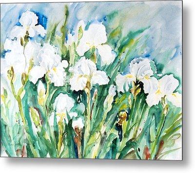 White Irises Metal Print by Alexandra Maria Ethlyn Cheshire