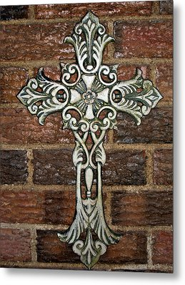 White Iron Cross 1 Metal Print