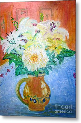 White Lilies In Olive Jug Metal Print by Barbara Anna Knauf