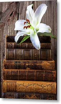 White Lily On Antique Books Metal Print by Garry Gay