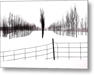 White Lines Fenced In  Metal Print by Russell Styles
