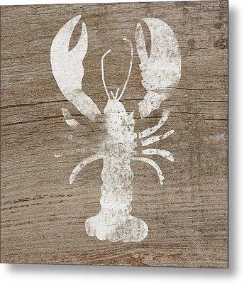 White Lobster On Wood- Art By Linda Woods Metal Print