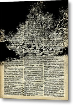 White Lonley Tree Dictionary Art Metal Print by Jacob Kuch