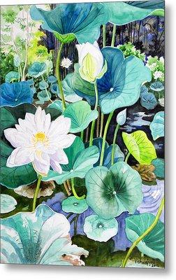 White Lotus 1 Metal Print by Vishwajyoti Mohrhoff
