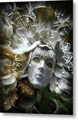 White Masked Celebration Metal Print