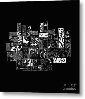 White On Black Abstract Art Metal Print by Edward Fielding