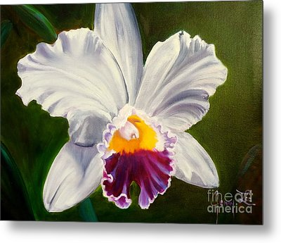 Metal Print featuring the painting White Orchid by Jenny Lee