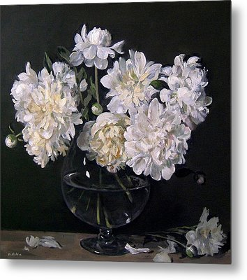 White Peonies Are Ready To Explode Metal Print