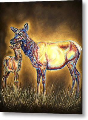 White Pine Sanctuary Cow And Calf Metal Print