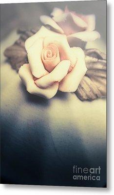 White Porcelain Rose Metal Print