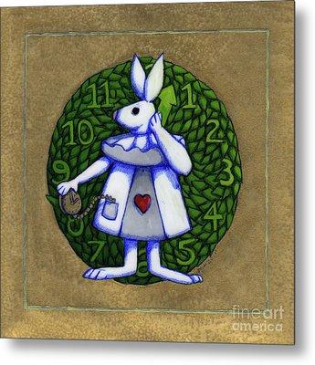 White Rabbit Alice Metal Print