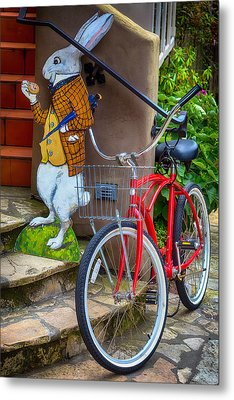 White Rabbit And Bike Metal Print by Garry Gay