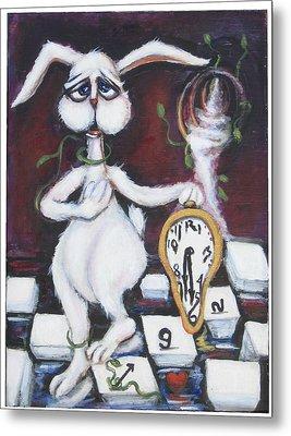White Rabbit Metal Print by Cathi Doherty