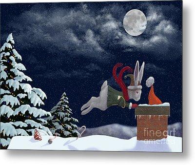 White Rabbit Christmas Metal Print by Audra Lemke