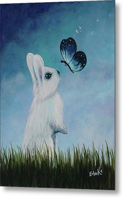 White Rabbit With Butterfly Paintings Metal Print