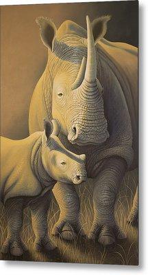 White Rhino Fading Into Extinction Metal Print