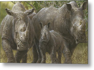 White Rhino Family - The Face That Only A Mother Could Love Metal Print