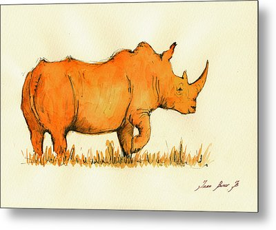 White Rhino Orange Metal Print