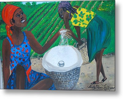 Metal Print featuring the painting White Rice Merchant by Nicole Jean-Louis