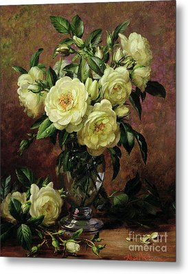 White Roses - A Gift From The Heart Metal Print by Albert Williams