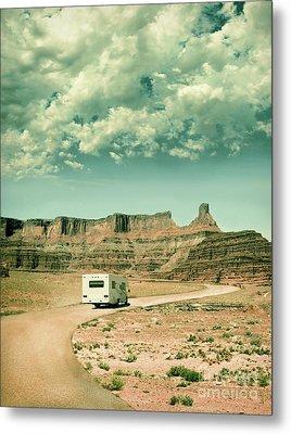 Metal Print featuring the photograph White Rv In Utah by Jill Battaglia
