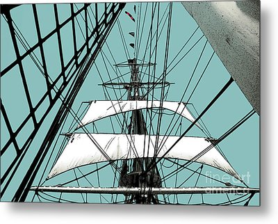 White Sails At Dawn Metal Print by Linda  Parker