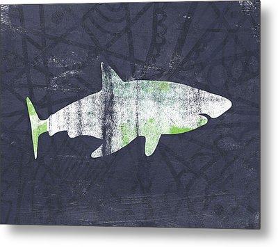 White Shark- Art By Linda Woods Metal Print by Linda Woods