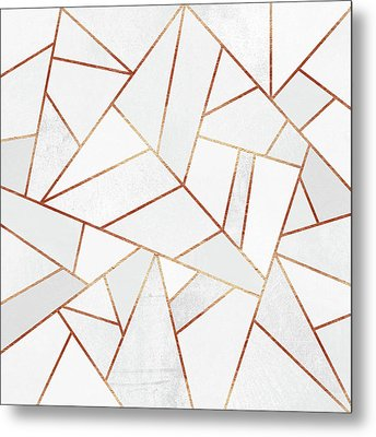 White Stone And Copper Lines Metal Print by Elisabeth Fredriksson