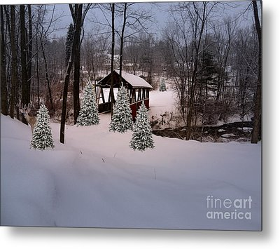 White Tailed Buck At Belmont N H Covered Bridge Metal Print