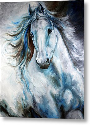White Thunder Arabian Abstract Metal Print by Marcia Baldwin