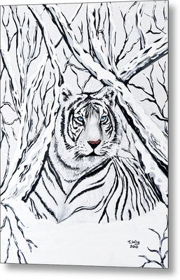 Metal Print featuring the painting White Tiger Blending In by Teresa Wing