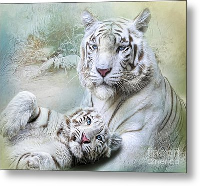 Metal Print featuring the digital art  White Tiger by Trudi Simmonds