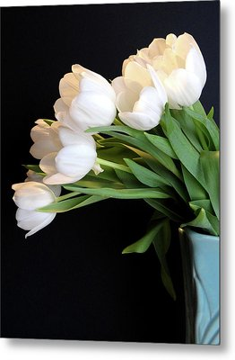 White Tulips In Blue Vase Metal Print