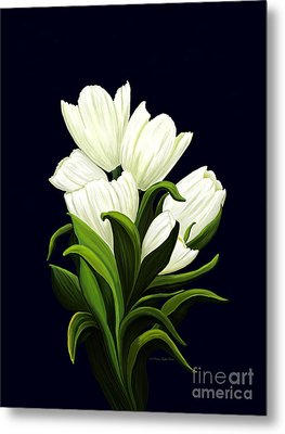 Metal Print featuring the painting White Tulips by Patricia Griffin Brett