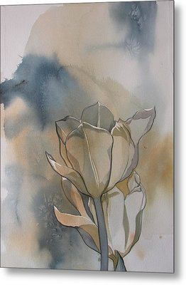 White Tulips With Blues Metal Print by Alfred Ng