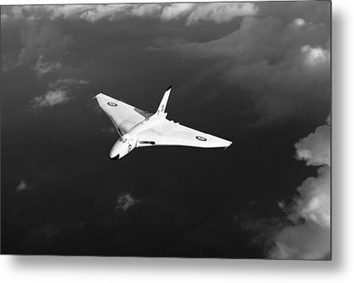 Metal Print featuring the digital art White Vulcan B1 At Altitude Black And White Version by Gary Eason