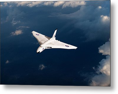 Metal Print featuring the digital art White Vulcan B1 At Altitude by Gary Eason