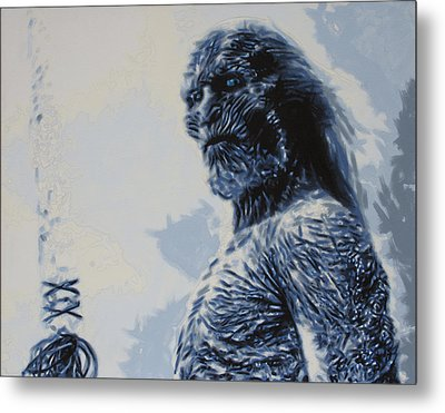 Metal Print featuring the painting White Walker by Luis Ludzska