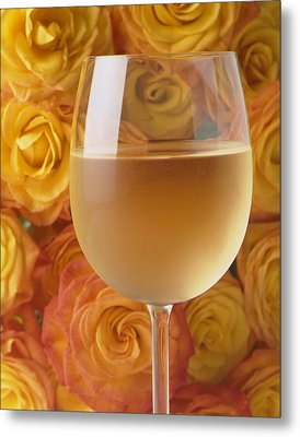 White Wine And Yellow Roses Metal Print by Garry Gay