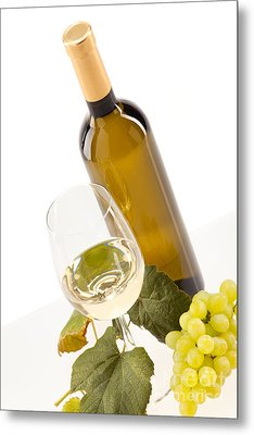 White Wine In Glass With Grapes And Bottle Metal Print