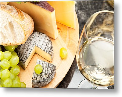 White Wine With Cheese Metal Print by Wolfgang Steiner