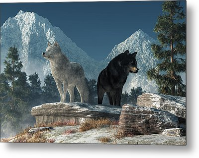 White Wolf, Black Wolf Metal Print