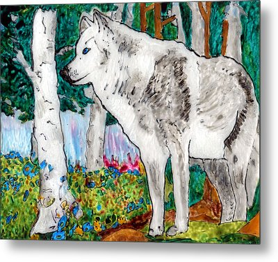 White Wolf In Spring Metal Print