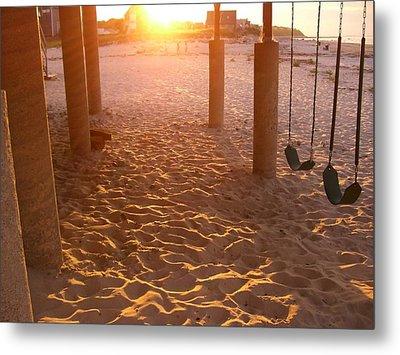 Whitehorse Beach - Swings Metal Print by Nancy Ferrier
