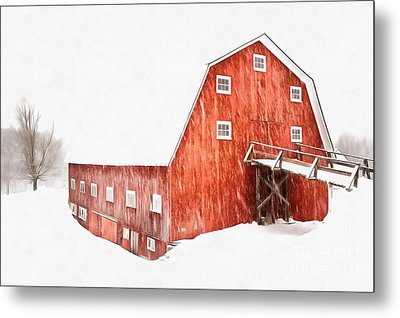 Metal Print featuring the painting Whiteout On The Farm Blizzard Stella by Edward Fielding